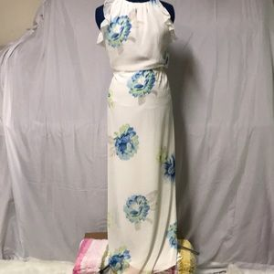 White with Blue Flower Maxi Dress